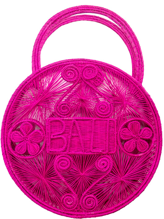 "100% Handwoven Hot Pink Iraca Palm Bag with ""Bali"" Woven Across Front"