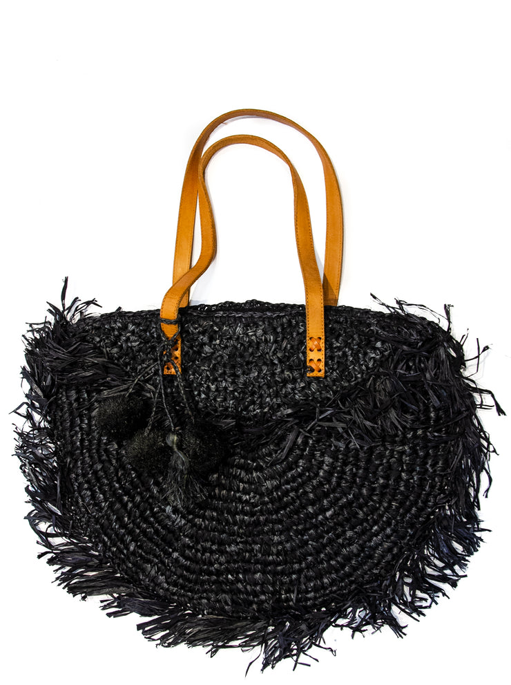 Black raffia beach bag with leather strap and fringe