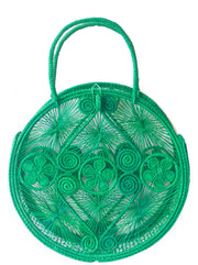 Emerald Palm Round Boho Chic Bag
