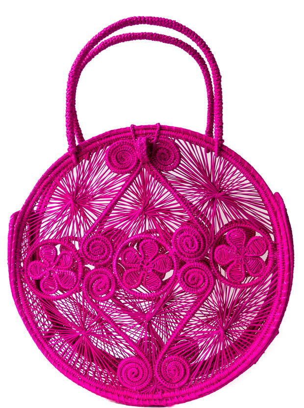 Hot Pink Palm Round Boho Chic Bag