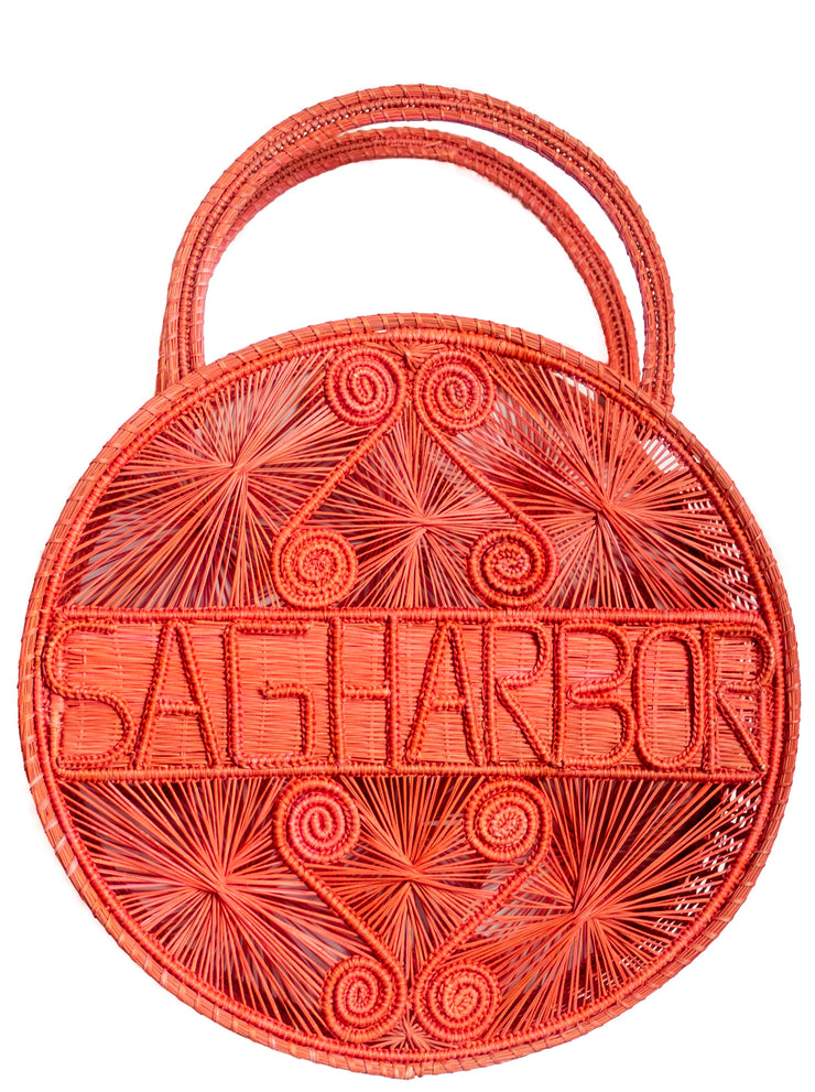 "Coral Pink 100 % Handwoven, Iraca Palm Bag with ""Sagharbor"" Woven Across Front"