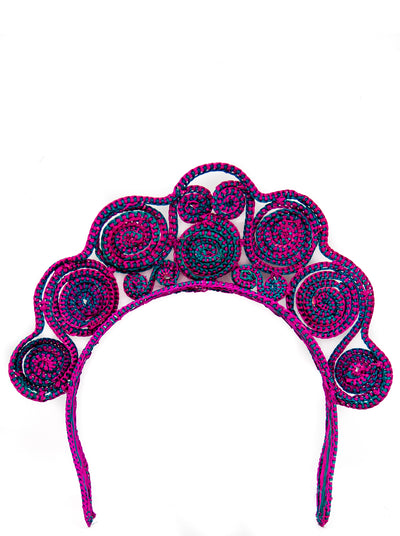 Handmade Iraca Palm Crowns, Hot Pink and Teal Swirls