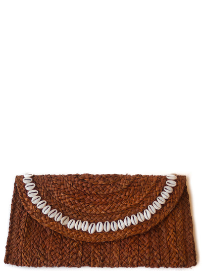 Handwoven Mahogany Brown Straw Clutch with Natural Shells