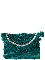 Teal Handwoven Palm Clutch with Natural Shells
