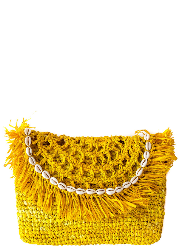 Primrose Handwoven Palm Clutch with Natural Shells