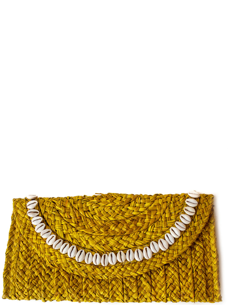 Handwoven Primrose Yellow Straw Clutch with Natural Shells
