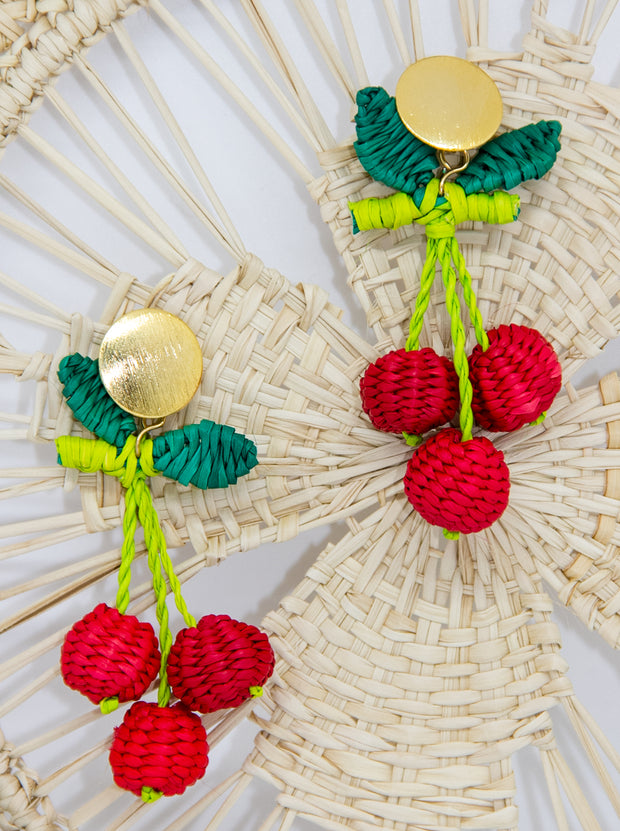 Handmade Iraca Palm Earrings with Cherry on top