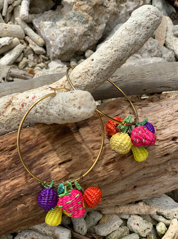 Tuti Fruity Handmade palm hoop earrings