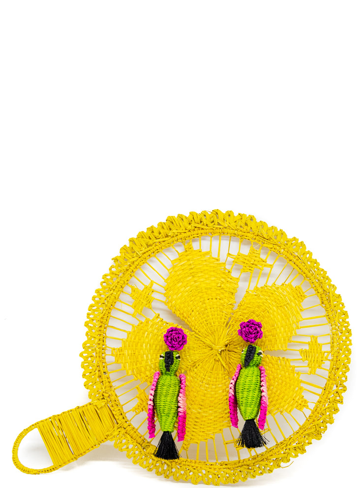 Handmade iraca parrot earrings with tassel, Green and Hot Pink