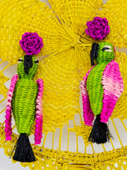 Paradise Parrot Earrings | Green/Hot Pink