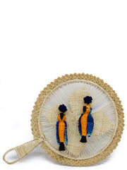 Tweety Parrot Handmade iraca earrings with tassel, Orange and Blue