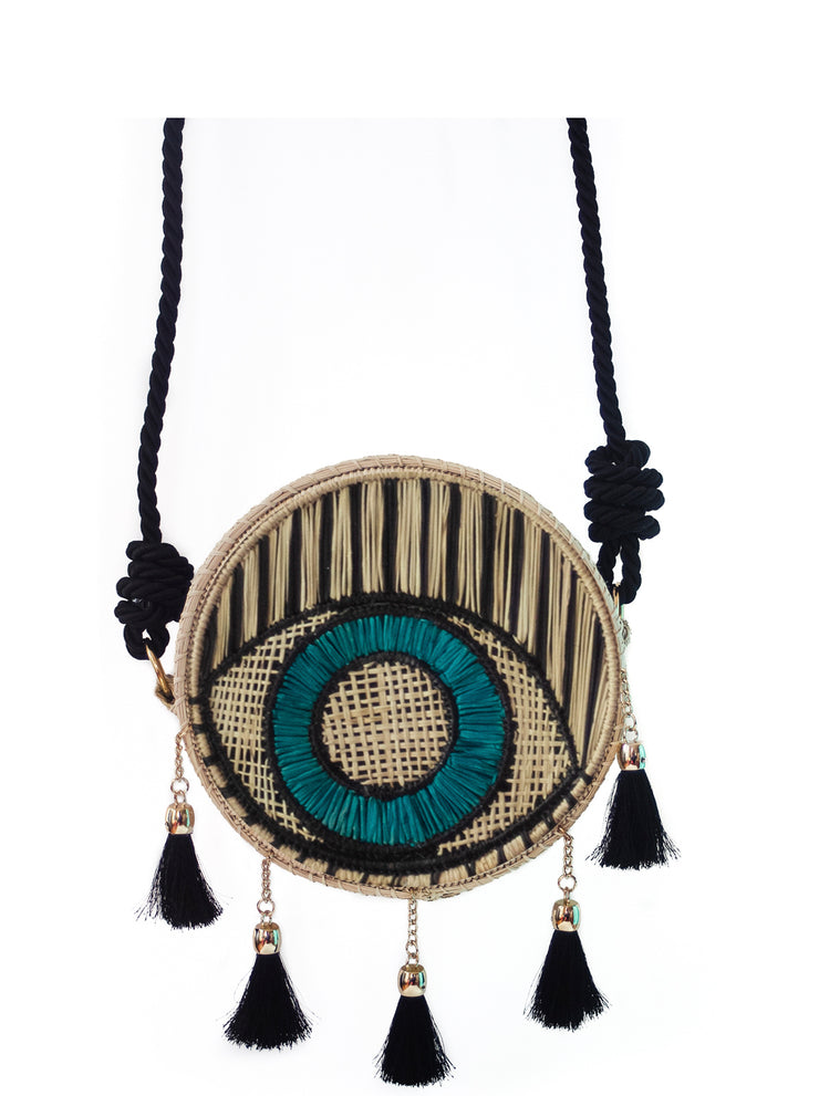 Cross Body Handmade Palm Bag with Evil Eye Design, Black Silk Strap