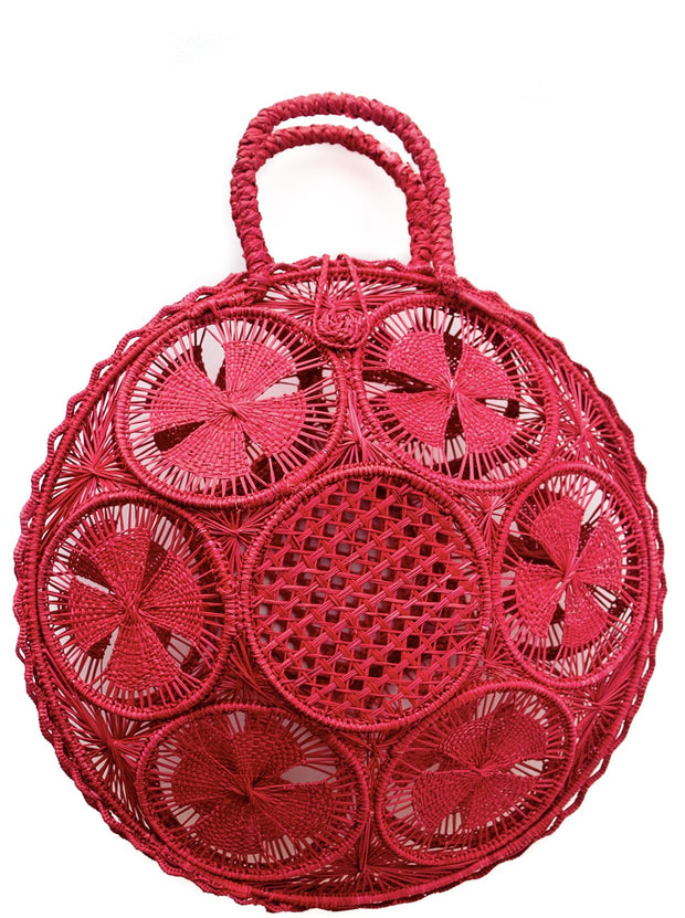 "Beautifully Designed Handmade Panera Basket Handbag in Garnet Red. Handmade with Love in South America, by Women and for Women. Chic and Stylish for Any Occasion. •Size 15.35"" x 15.5""  • Handle 4.72"" x 5"""