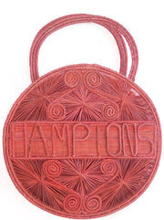 "Coral Pink 100 % Handwoven , Iraca Palm Bag with ""Hamptons"" Woven Across Front"
