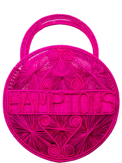 "Hot Pink 100 % Handwoven , Iraca Palm Bag with ""Hamptons"" Woven Across Front"
