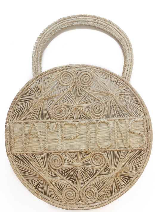 "Natural Colored  100 % Handwoven , Iraca Palm Bag with ""Hamptons"" Woven Across Front"