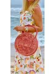 "100% Handwoven Natural Colored Iraca Palm Bag with ""Hamptons"" Woven Across Front"