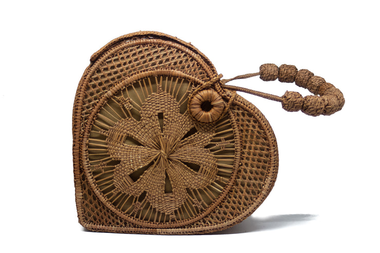 Habano Brown Love Heart Handwoven, Handmade Palm Handbag