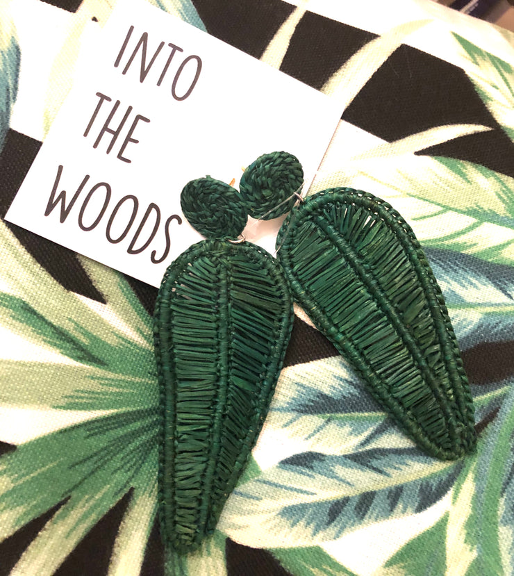Woven Palm Leaf Earrings