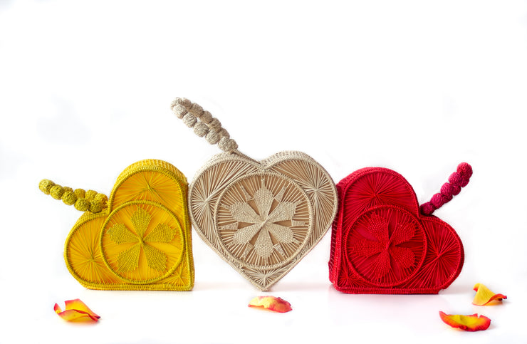 Primrose Yellow, Natural Colored and Garnet Red Love Heart Handwoven, Handmade Palm Handbags.