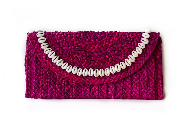 Handwoven Hot Pink Straw Clutch with Natural Shells