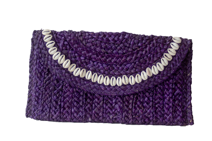 Handwoven Deep Purple Straw Clutch with Natural Shells