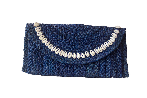 Handwoven Midnight Blue Straw Clutch with Natural Shells