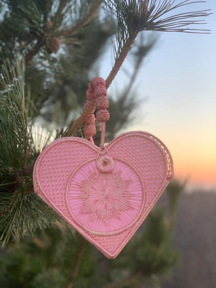 Bellini Pink Love Heart Handwoven, Handmade Palm Handbag with Forest In Background