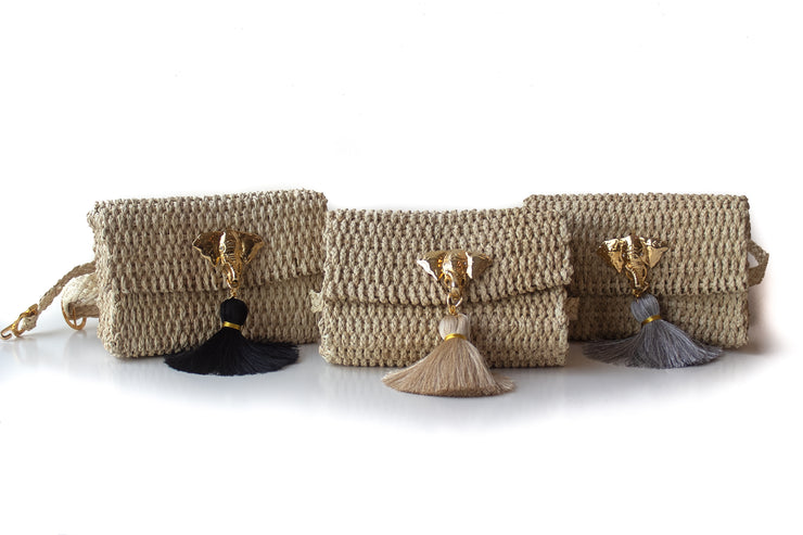 Kimbo Belly bag options with black, beige or gray tassel and 30 inch waist strap.