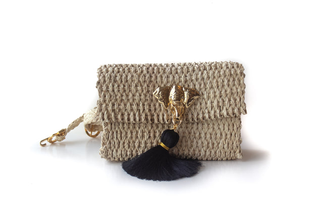 "Handmade Palm Kimbo Belly Bag with Brass Elephant charm with black tassel, crystal eyes and 30"" waist strap side view"