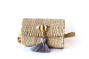 "Handmade Palm Kimbo Belly Bag with Gray Tassel Brass Elephant charm, crystal eyes and 30"" waist strap"