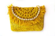 Primrose Yellow Handwoven Palm Clutch with Natural Shells
