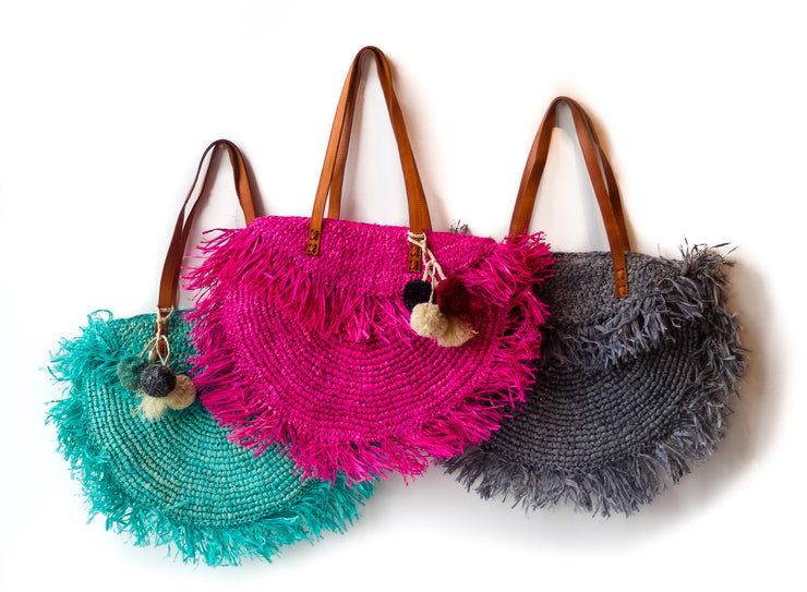 Hot Pink, Storm Gray and Azure Raffia Beach Bags.