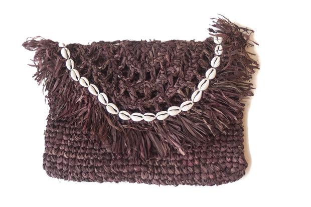 Chocolate Brown Handwoven Palm Clutch with Natural Shells