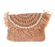 Coffee Brown Handwoven Palm Clutch with Natural Shells