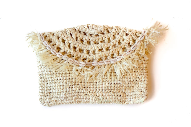 """Dreamy Creamy"" Handwoven Palm Clutch with Natural Shells"
