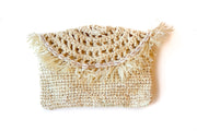 "Dreamy Creamy"" Handwoven Palm Clutch with Natural Shells"
