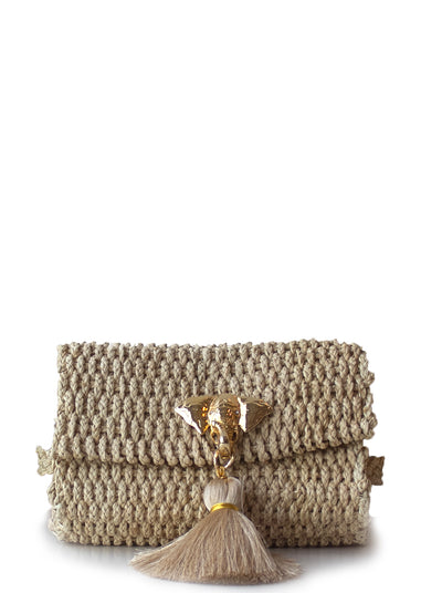 "Handmade Palm Kimbo Belly Bag with Beige Tassel Brass Elephant charm, crystal eyes and 30"" waist strap"