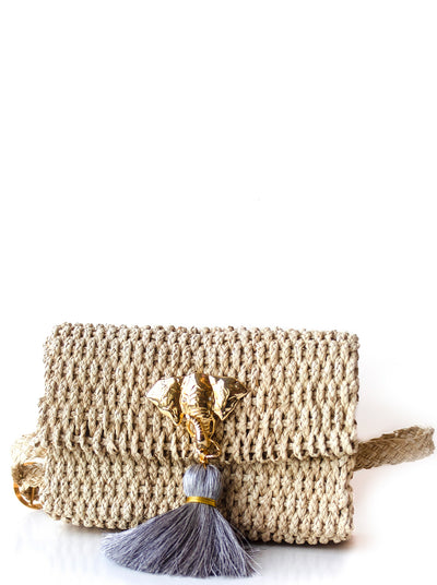 "Handmade Palm Kimbo Belly Bag with Brass Elephant charm, gray tassel, crystal eyes and 30"" waist strap"