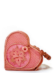 Bellini Pink Love Heart Handwoven, Handmade Palm Handbag