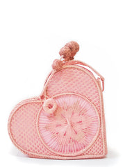 Rosé Pink Love Heart Handwoven, Handmade Palm Handbag