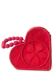 Garnet Red Love Heart Handwoven, Handmade Palm Handbag