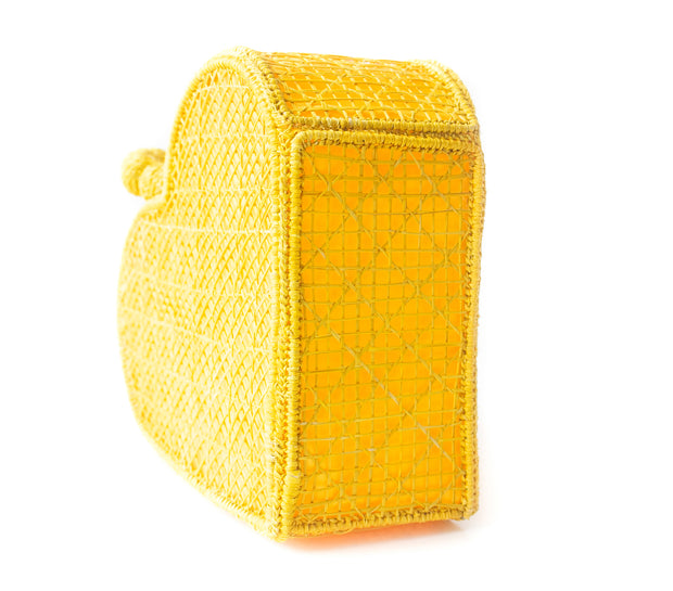 Primrose Yellow Love Heart Handwoven, Handmade Palm Handbag, Sideview