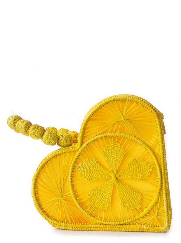Primrose Yellow Love Heart Handwoven, Handmade Palm Handbag