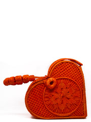 "Handwoven Orange Crush Love Heart ""Mary Kate"" Handbag"