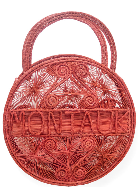 "Coral Pink 100 % Handwoven Black, Iraca Palm Bag with ""Montauk"" Woven Across Front"