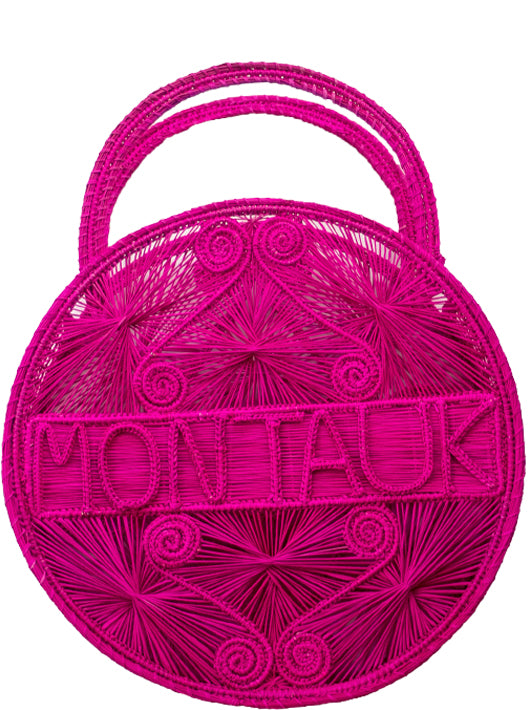 "Hot Pink  100 % Handwoven Black, Iraca Palm Bag with ""Montauk"" Woven Across Front"