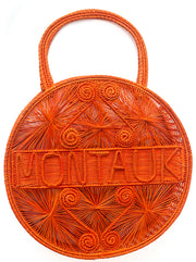 "Orange Crush 100 % Handwoven Black, Iraca Palm Bag with ""Montauk"" Woven Across Front"