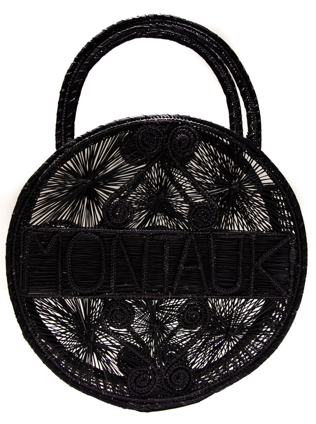 "Black 100% Handwoven, Iraca Palm Bag with ""Montauk"" Woven Across Front"