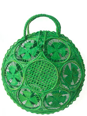 Beautifully Designed Handmade Panera Basket Handbag in Emerald Green. Handmade with Love in South America, by Women and for Women. Chic and Stylish for Any Occasion.